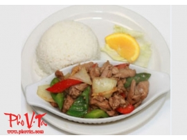 Com Ga Xao Xa Ot - Stir fry spicy lemongrass chicken on rice
