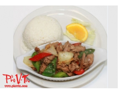 36. Com Ga Xao Xa Ot - Stir fry spicy lemongrass chicken on rice