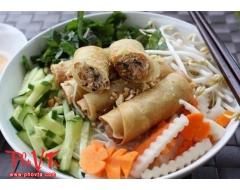 Bun cha gio - Vermicelli with spring rolls