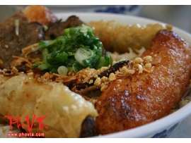 Bun Cha Gio, Nem Nuong  - Vermicelli with spring rolls and grilled Vietnamese cured pork
